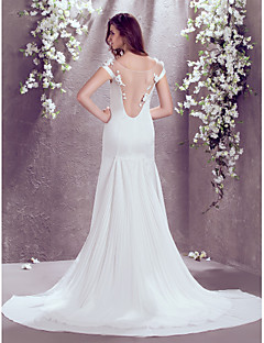 Lan Ting Trumpet/Mermaid Plus Sizes Wedding Dress - Ivory Court Train Off-the-shoulder Satin Chiffon