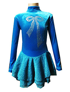 Ice Skating Dress Women's / Girl's Long Sleeve Skating Skirts & Dresses Figure Skating Dress Spandex Blue Skating WearPerformance /