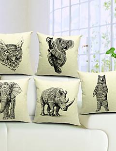 lot de 5 frais élégant coton animale / linge taie d'oreiller décoratif