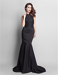 TS Couture® Formal Evening Dress - Elegant Plus Size / Petite Trumpet / Mermaid Jewel Court Train Lace / Stretch Satin with Lace