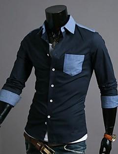 zian® ανδρών γιακά πουκάμισο τζιν μόδας των επιχειρήσεων αντίθεση χρωμάτων casual μακρύ μανίκι πουκάμισο o