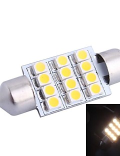 36mm 3W 150LM 3000K 12x3528SMD Warm White LED para el coche de lectura / matrícula / lámpara de la puerta (DC12V, 1pcs)