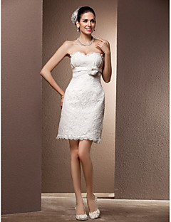 Lan Ting Sheath/Column Plus Sizes Wedding Dress - Ivory Short/Mini Sweetheart Lace