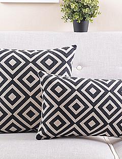 set om 2 svart och vit rutig bomull / linne dekorativa örngott
