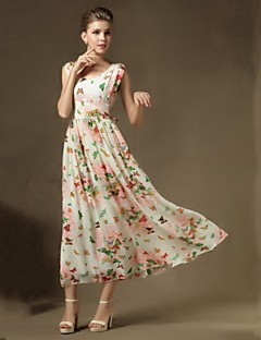 Women's Beach Swing Dress,Print Round Neck Maxi Sleeveless Green Silk Summer