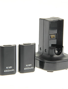 Dual Charger Base Charging Station Dock and 2 Rechargeable Battery 4800mAh for Xbox 360 Controller (Black)
