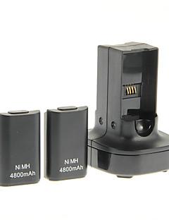 Dual oplader Base opladerstation Dock og  genopladligt batteri 4800mAh til Xbox  Controller (sort)