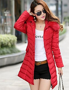 Zian® Women's Stand Fur Collar Zipper Hoodies Belt Included Long Sleeves Long Cotton Coat