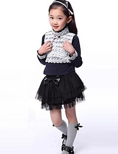 Girl's Fashion Lace Embroidery Little Highneck Long Sleeve T Shirt