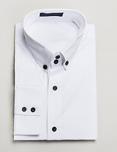 White Cotton Tailored Fit Long Sleeve Shirt