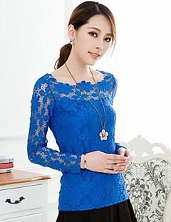 Women'S Scoop neck Elegant Slim Lace Shirt