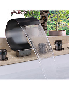 Zeitgenössisch Badewanne & Dusche Wasserfall / Handdusche inklusive with  Keramisches Ventil Zwei Griffe Fünf Löcher for  Bronze mit