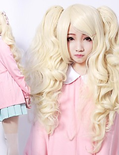 Zipper Lovely Girl Golden Curly Pigtails Sweet Lolita Wig