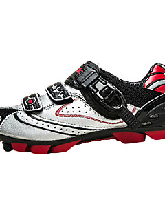 SANTIC Men's Athletic Professional MTB Mountian Bike Cycling Locking Shoes - Silver + Black