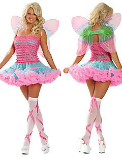 Cosplay Costumes Party Costume Animal Fairytale Festival/Holiday Halloween Costumes Pink Patchwork Dress Wings Halloween Carnival Female