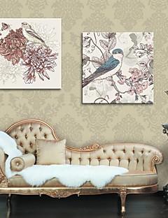 art de toile tendue fleurs de peinture décorative et les oiseaux ensemble de 2