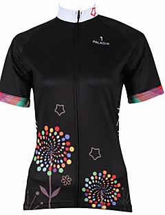 PaladinSport Women's Dandelion  Spring and Summer Style 100% Polyester Short Sleeved Black Cycling Jersey