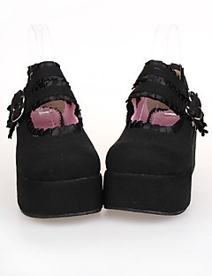 sort pu læder 7cm platform klassiker& traditionelle Lolita Shoes