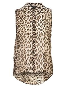 Women's Spring / Summer / Fall Shirt,Leopard Shirt Collar Sleeveless Multi-color Polyester Opaque