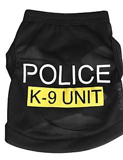 고양이 개 티셔츠 강아지 의류 여름 모든계절/가을 경찰/군인 귀여운 패션 블랙 블루 핑크