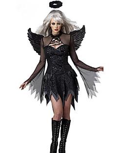 Traje de Halloween do anjo caído Preto Terylene Mulheres