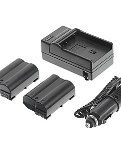 OEM-Nik EN-EL15 1900mAh 7V Battery for Nikon D7000/D7100/1V1/D800/D800E/D600/P520/P530 with Car Charger(2 batteries)