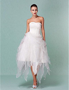 A-line/Princess Plus Sizes Wedding Dress - Ivory Asymmetrical Sweetheart Organza