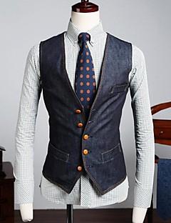 Men's Pure Sleeveless Top , Cotton/Denim Casual