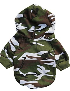 Cat / Dog Hoodie Green Dog Clothes Winter / Spring/Fall Camouflage Fashion