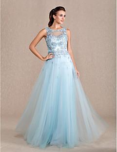 Formal Evening/Prom/Military Ball Dress - Sky Blue Sheath/Column Jewel Floor-length Tulle