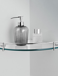 "Bathroom Shelf Chrome Wall Mounted 264 x 264 x 45mm (10.39 x 10.39 x 1.77"") Brass Contemporary"