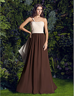 Lanting Bride Sweep / Brush Train Chiffon Bridesmaid Dress A-line One Shoulder Plus Size / Petite withCriss Cross / Crystal Brooch /