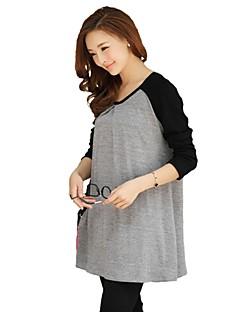 Maternity's Fashion Leisure Simple Long Sleeve Maternity Dress