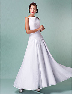 A-line Plus Sizes Wedding Dress - White Ankle-length Straps Lace