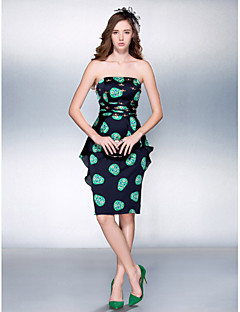 Cocktail Party/Prom Dress - Multi-color Plus Sizes Sheath/Column Strapless Knee-length Stretch Satin