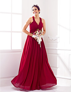 Lanting Bride® Na zem Žoržet Šněrování Šaty pro družičky - A-Linie Do V Větší velikosti / Malé s Křížení