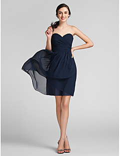 LAN TING BRIDE Knee-length Chiffon Bridesmaid Dress - Sheath / Column Sweetheart Plus Size / Petite