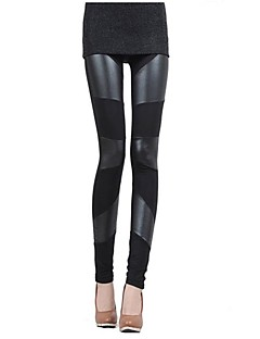 Women's  PU Leather Patchwork Stretchy Elastic Waist Trousers Leggings