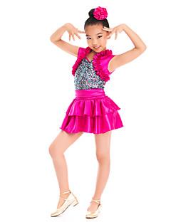 Roupas de Dança para Crianças Vestidos e Saias Crianças Actuação Cetim