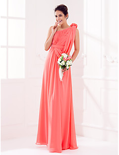 Lanting Bride® Floor-length Georgette Bridesmaid Dress Sheath / Column One Shoulder Plus Size / Petite withDraping / Flower(s) / Sash /