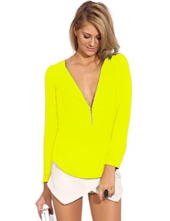 Women's V Neck Zipper Candy Colour Long Sleeve Blouse