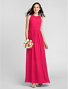 Lanting Bride® Floor-length Chiffon Bridesmaid Dress - Sheath / Column Jewel Plus Size / Petite with Draping
