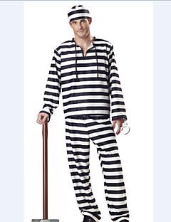 Festa Halloween Costume dos homens Prisioneiro Arrogante Black & White Striped