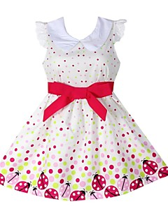 Girl's Sleeveless Dot Print Princess Dress,Organic Cotton Summer / Spring / Fall Season White Color Knee-length Fashion Wear