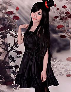 geinspireerd door K-ON Mio Akiyama Anime Cosplay Kostuums Cosplay Kostuums / Jurken Effen Zwart Mouwloos Kleding / Hoed