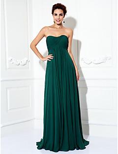 a-line princess strapless sweep / tscouture®によるドレープ付きブラシトレインシフォンウエディングドレス