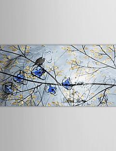 ručně malované olejomalba krajina zpěv ptáků na stromě s napnuté rámem