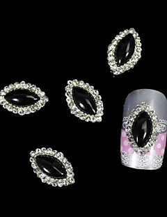 10pcs Black Marquise DIY Alloy Accessories Nail Art Decoration