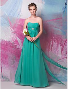 Floor-length Chiffon Bridesmaid Dress - Sheath / Column Sweetheart with Beading / Draping / Side Draping / Ruching