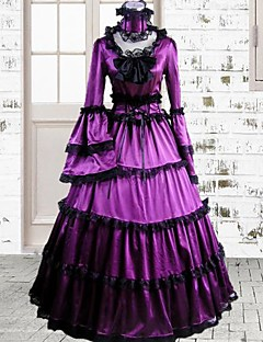 långärmad golv längd lila bomull gothic lolita klänning